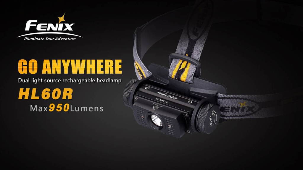 HL60R Dual Light Source Rechargeable Headlamp